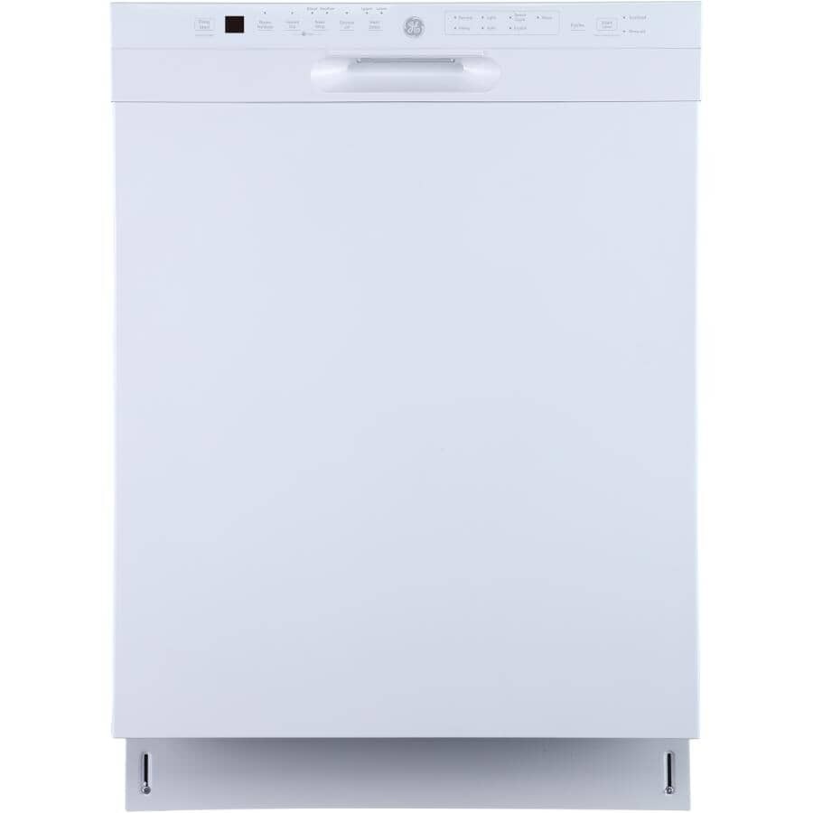 """GE:24"""" Built-In Tall Tub Dishwasher (GBF655SGPWW) - Front Control + White with Stainless Steel Interior"""