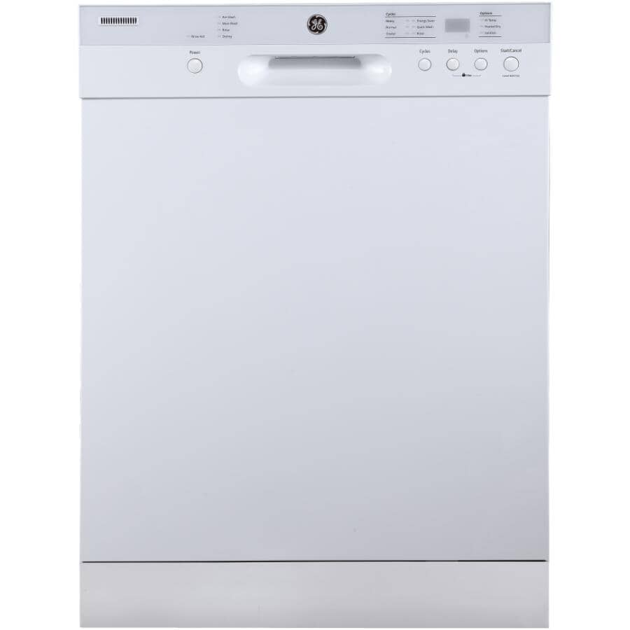 """GE:24"""" Built-In Tall Tub Dishwasher (GBF532SGPWW) - White & Stainless Steel Interior"""
