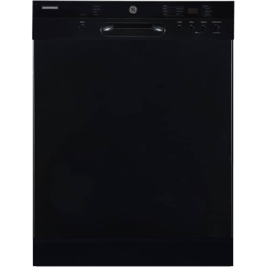 """GE:24"""" Built-In Tall Tub Dishwasher (GBF532SGPBB) - Black & Stainless Steel Interior"""