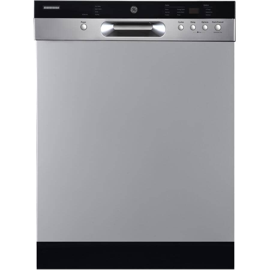 """GE:24"""" Built-In Tall Tub Dishwasher (GBF532SSPSS) - with Front Controls, Stainless Steel"""