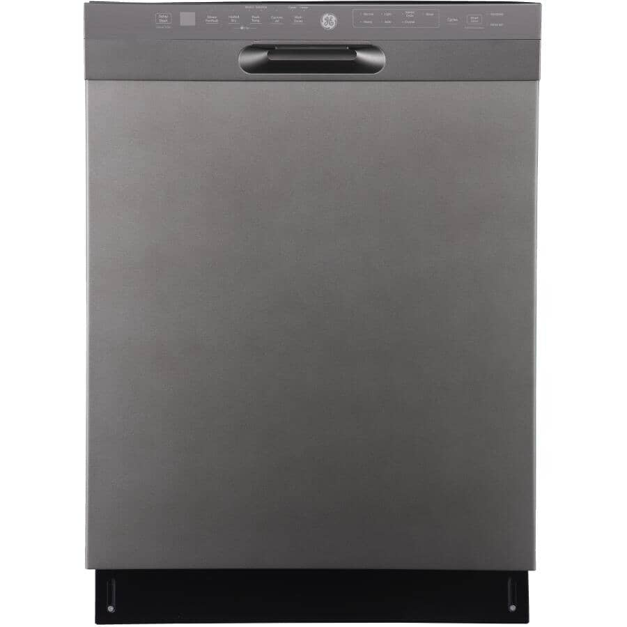 """GE:24"""" Built-In Tall Tub Dishwasher (GBF655SMPES) - with Front Controls, Slate & Stainless Steel Interior"""