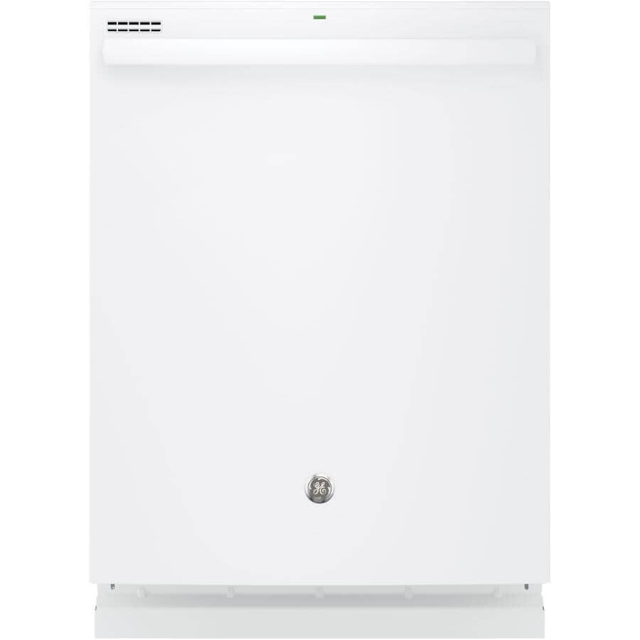"""GE:Built-In Tall Tub Dishwasher (GDT605PGMWW) - Top Control + White with Plastic Interior, 24"""""""
