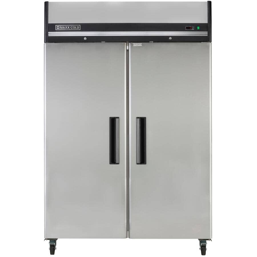 MAXX COLD:Commercial Grade Vertical Freezer (MXCF-49FD) - Stainless Steel, 2 Doors, 49 cu. ft.