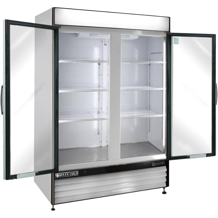MAXX COLD:Commercial Grade Vertical Freezer (MXM2-48F) - Stainless Steel, 2 Glass Doors, 48 cu. ft.