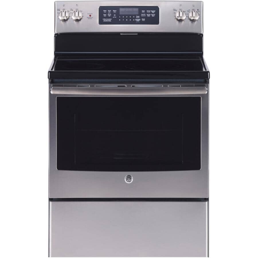 """GE:30"""" 5.0 cu. ft. Freestanding Smooth Top Electric Convection Range (JCB830SKSS) - Self-Cleaning, Stainless Steel"""