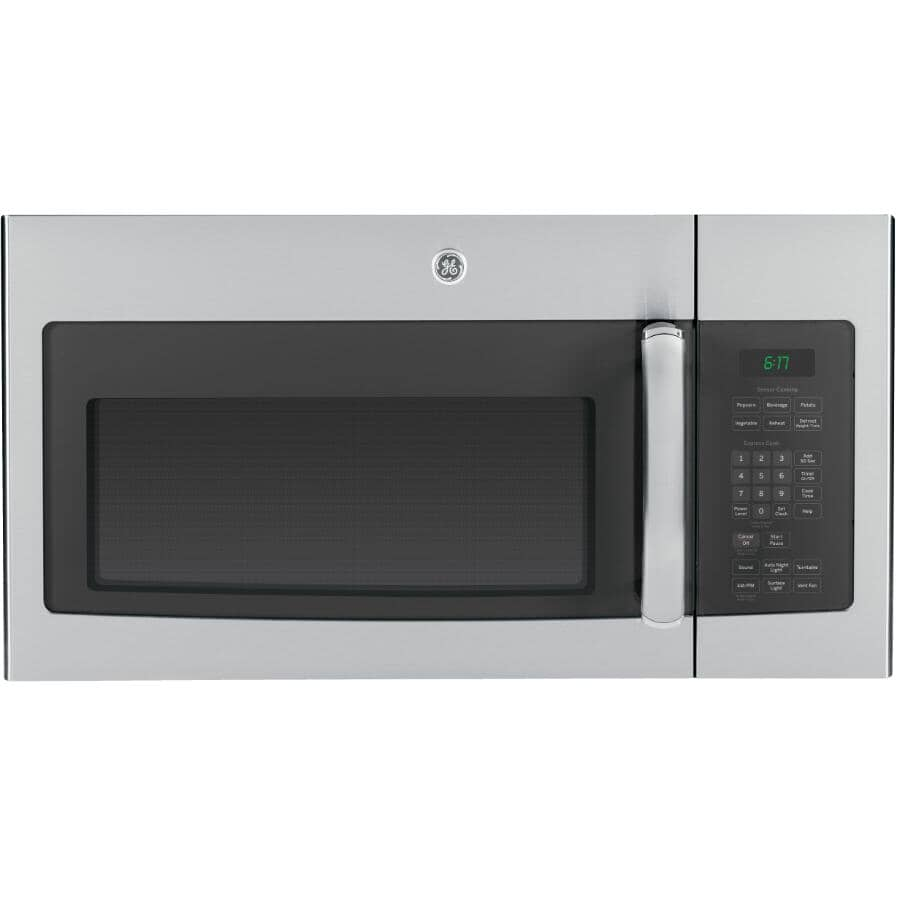 GE:1000W 1.6 cu.ft. Over-The-Range Microwave Oven - Stainless Steel