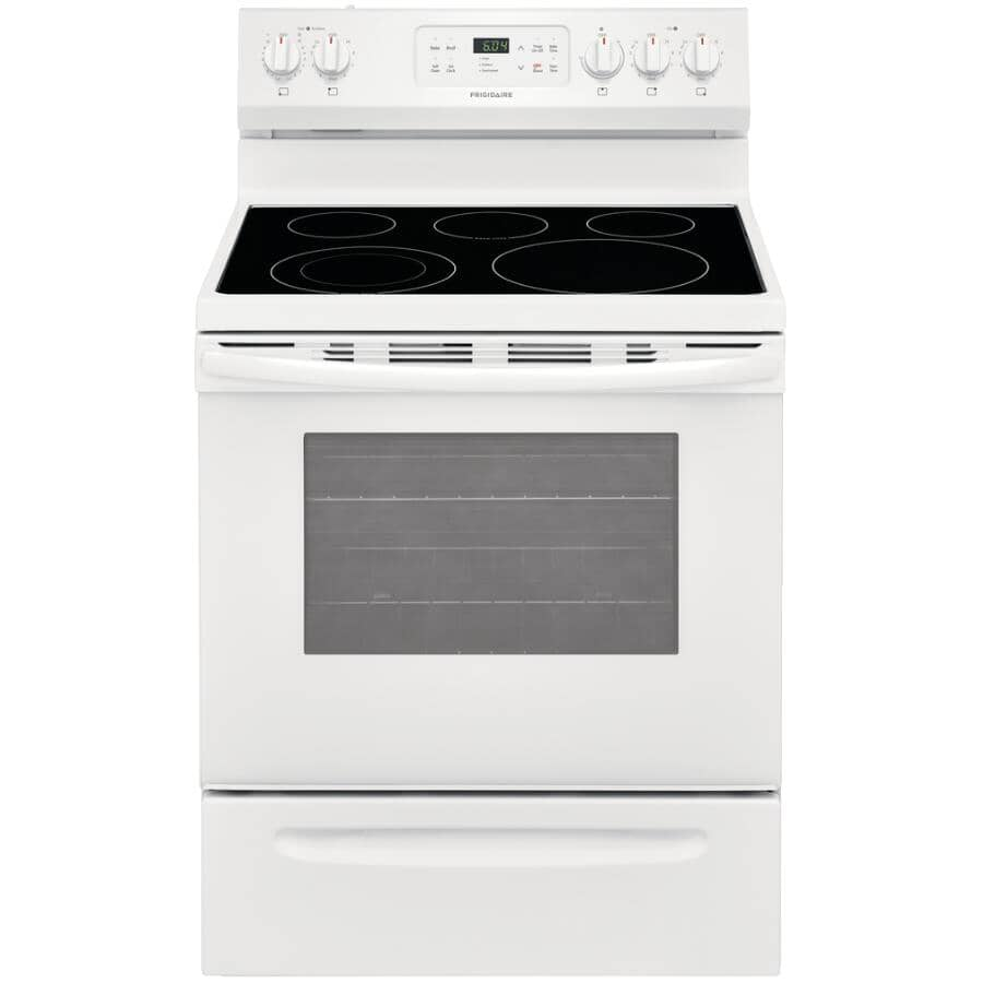 """FRIGIDAIRE:30"""" 5.3 cu. ft. Freestanding Smooth Top Electric Range (CFEF3054UW) - Self-Cleaning, White"""
