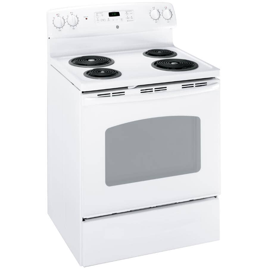 """GE:30"""" White Self Cleaning Coil Top Electric Range"""