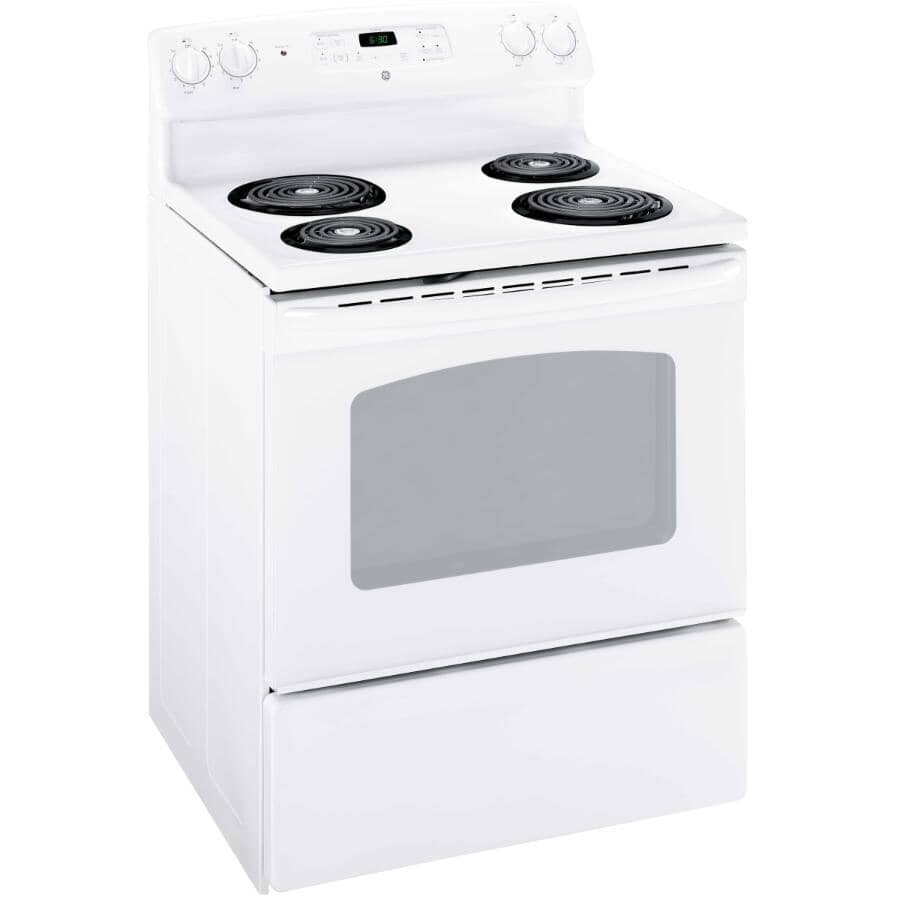 """GE:30"""" White Manual Clean Coil Top Electric Range"""
