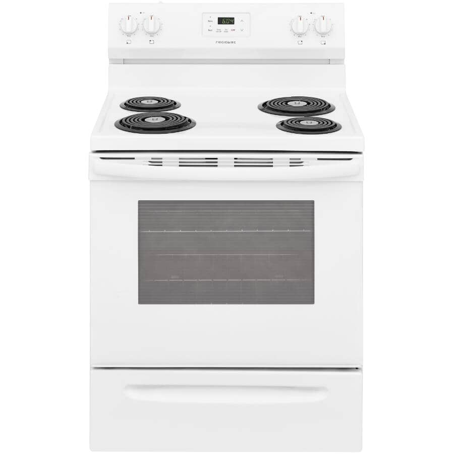 """FRIGIDAIRE:30"""" 5.3 cu. ft. Freestanding Coil Top Electric Range (FCRC301CAW) - Manual Clean, White"""