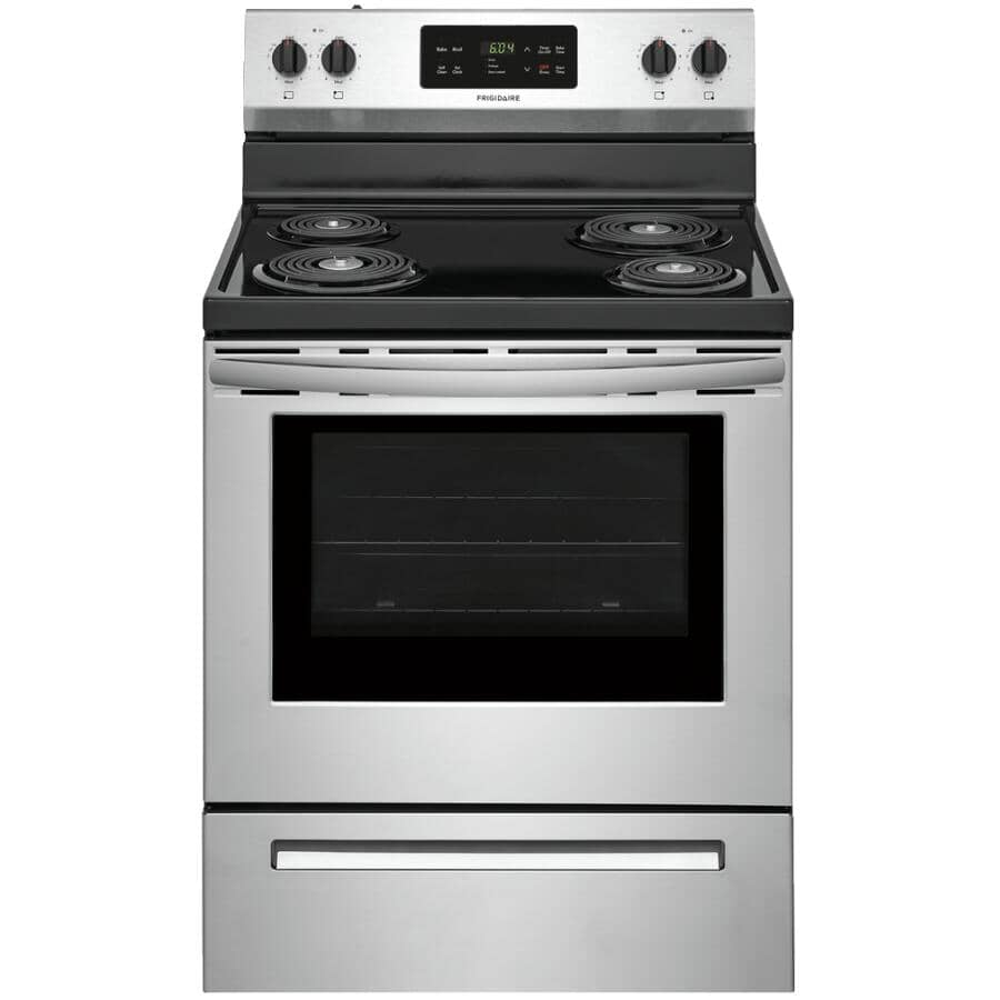 """FRIGIDAIRE:30"""" Coil Top Electric Range (CFEF3016VS) - Self Cleaning + Stainless Steel"""
