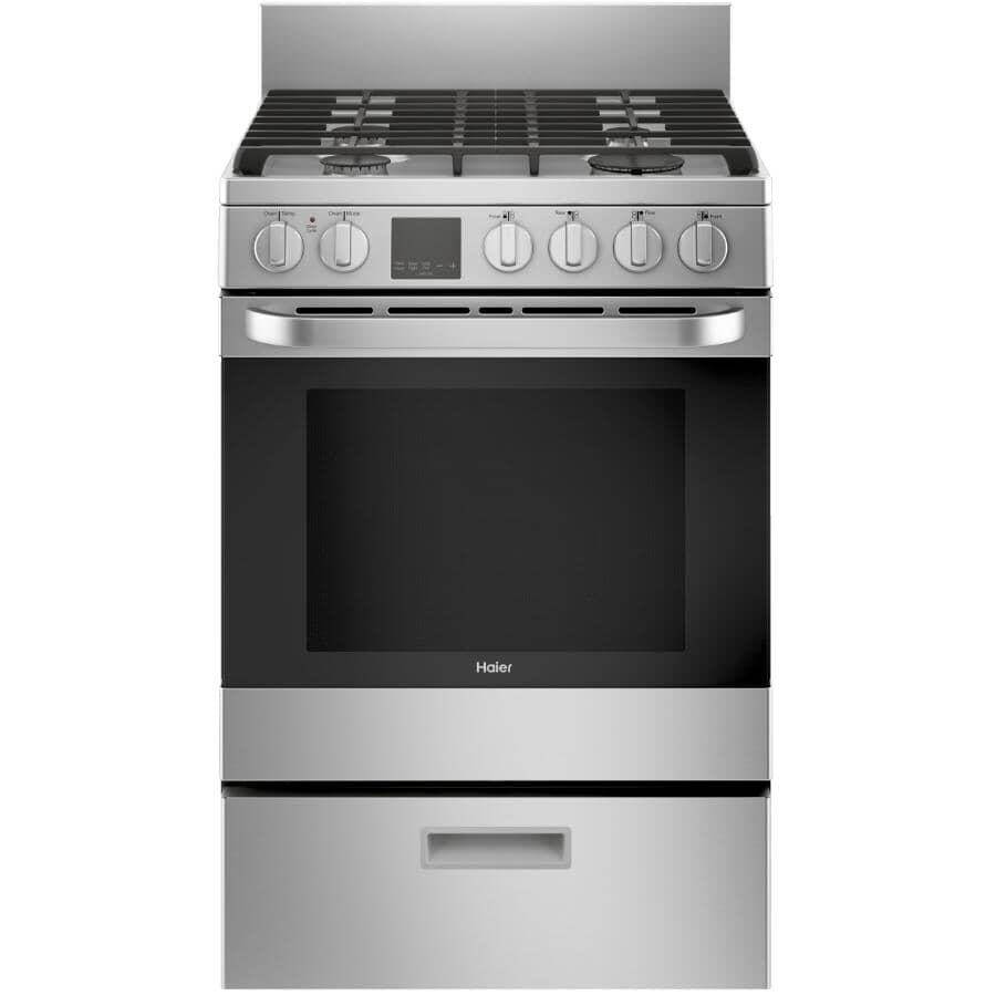 """HAIER:24"""" Stainless Steel Convection Gas Range"""
