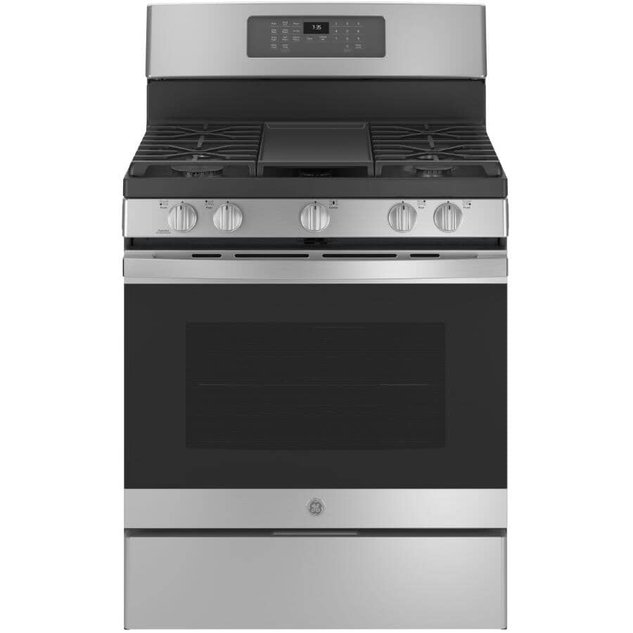 """GE:30"""" 5.0 cu. ft. Freestanding Convection Gas Range (JCGB735SPSS) - with Air Fry, Stainless Steel"""