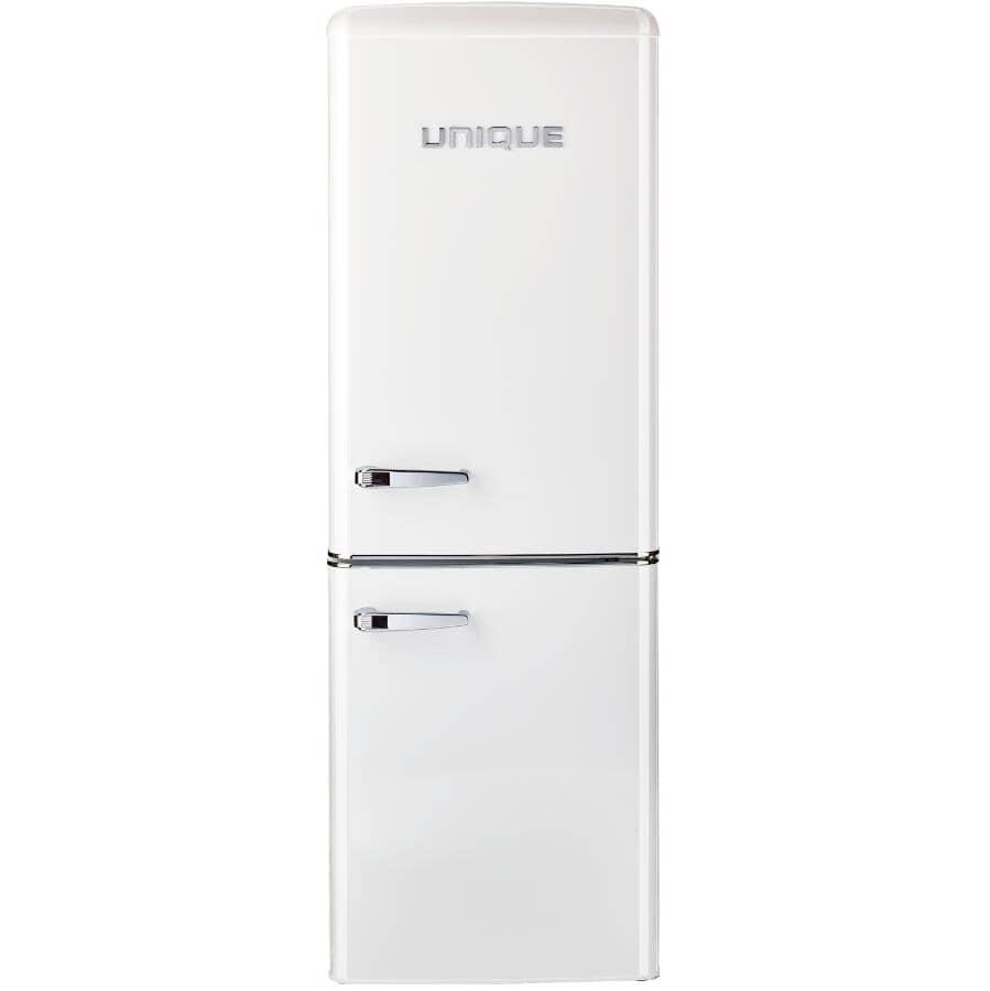 """UNIQUE:21.6"""" 7 cu. ft. Classic Retro Bottom Freezer Refrigerator (UGP-215L W AC) - White"""