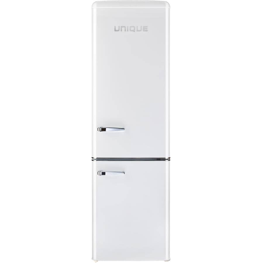 UNIQUE:9 cu. ft. Classic Retro Refrigerator - with Bottom Mount Freezer, Marshmallow White