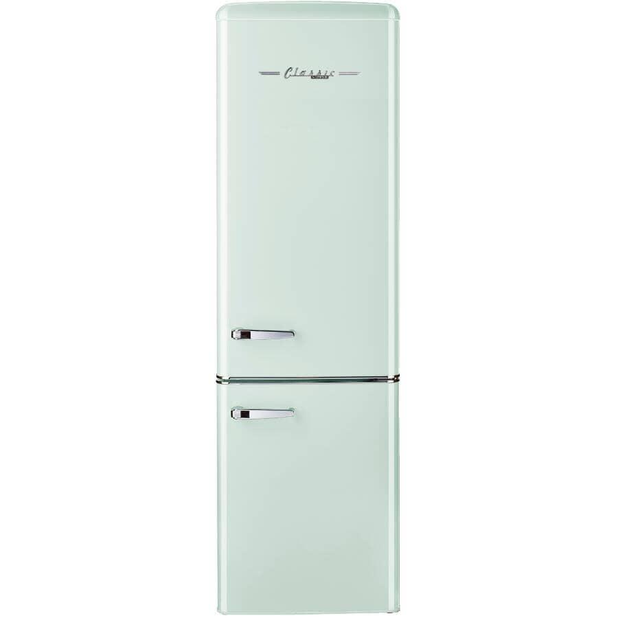 """UNIQUE:21.6"""" 9 cu. ft. Classic Retro Bottom Freezer Refrigerator (UGP-275L LG AC) - Summer Mint Green"""