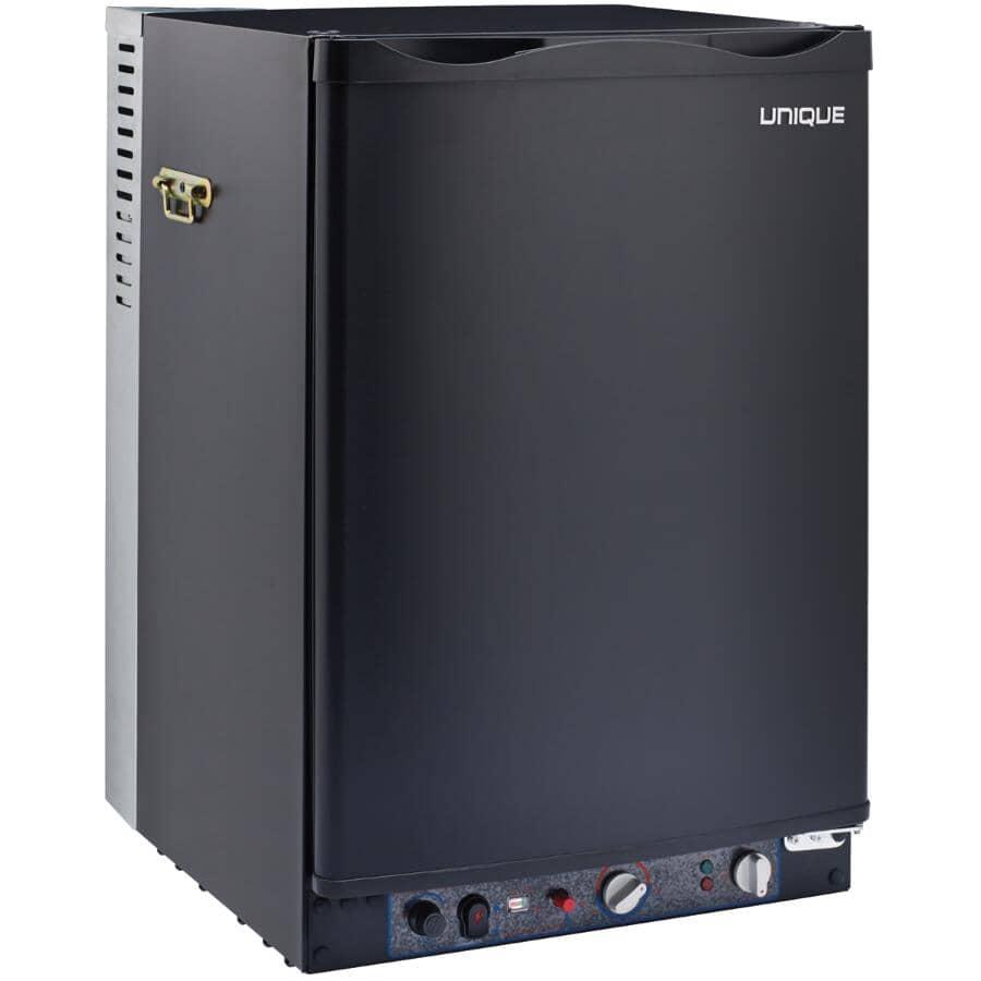 UNIQUE:Réfrigérateur portatif au propane de 3,4 pieds cubes fonctionnant à 3 sources d'alimentation, noir