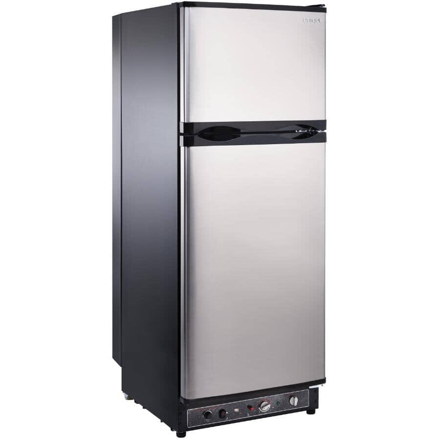 UNIQUE:Réfrigérateur au propane de 9,7 pieds cubes à ventilation directe, acier inoxydable