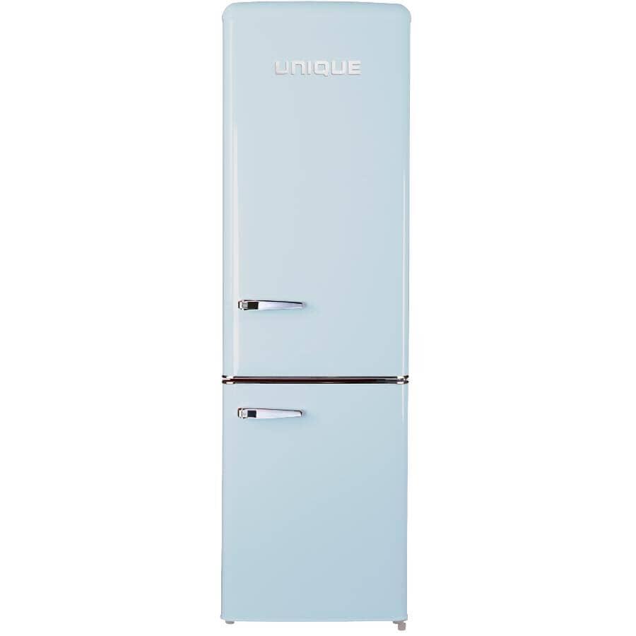 UNIQUE:9 cu. ft. Classic Retro Refrigerator - with Bottom Mount Freezer, Powder Blue