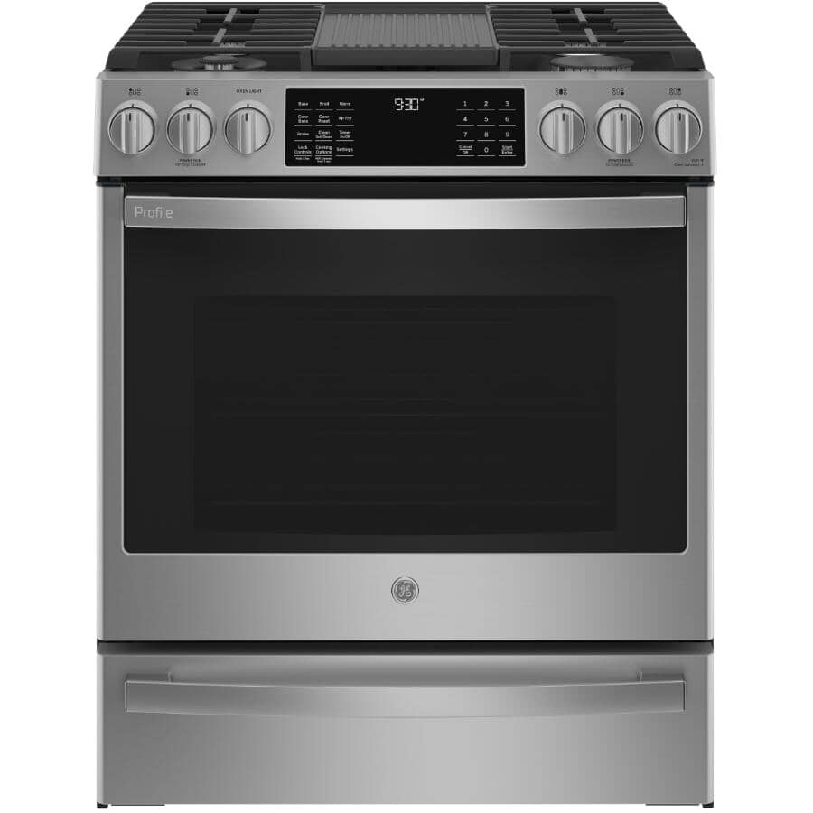 """GE:30"""" 5.6 cu. ft. Slide-In Convection Gas Range (PCGS930YPFS) - Stainless Steel"""