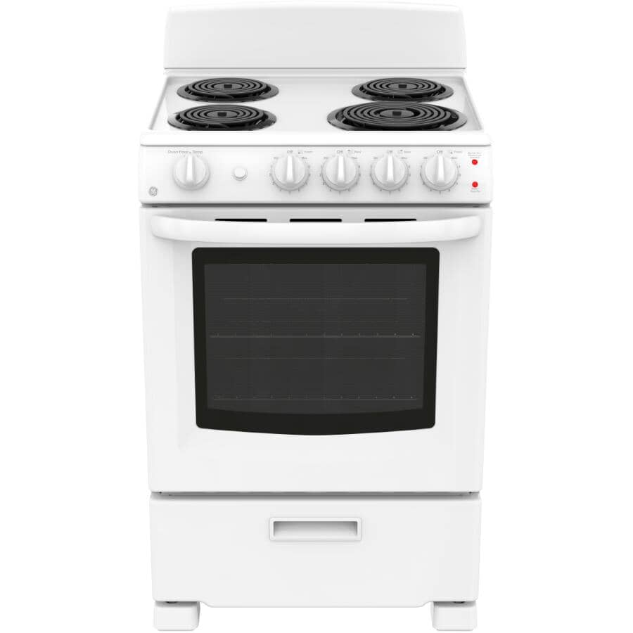 """GE:24"""" Coil Top Electric Range - Manual Clean + White"""
