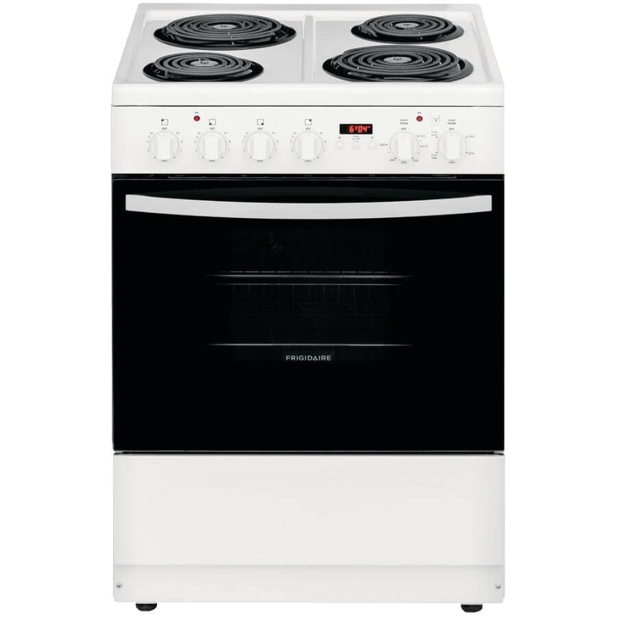 """FRIGIDAIRE:24"""" 1.9 cu. ft. Freestanding Coil Top Electric Convection Range (CFEH2411UW) - Manual Clean, White"""