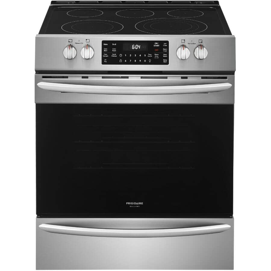 """FRIGIDAIRE GALLERY:30"""" 5.4 cu. ft. Freestanding Smooth Top Electric Convection Range (CGEH3047VF) - with Air Fry + Self-Cleaning, Stainless Steel"""