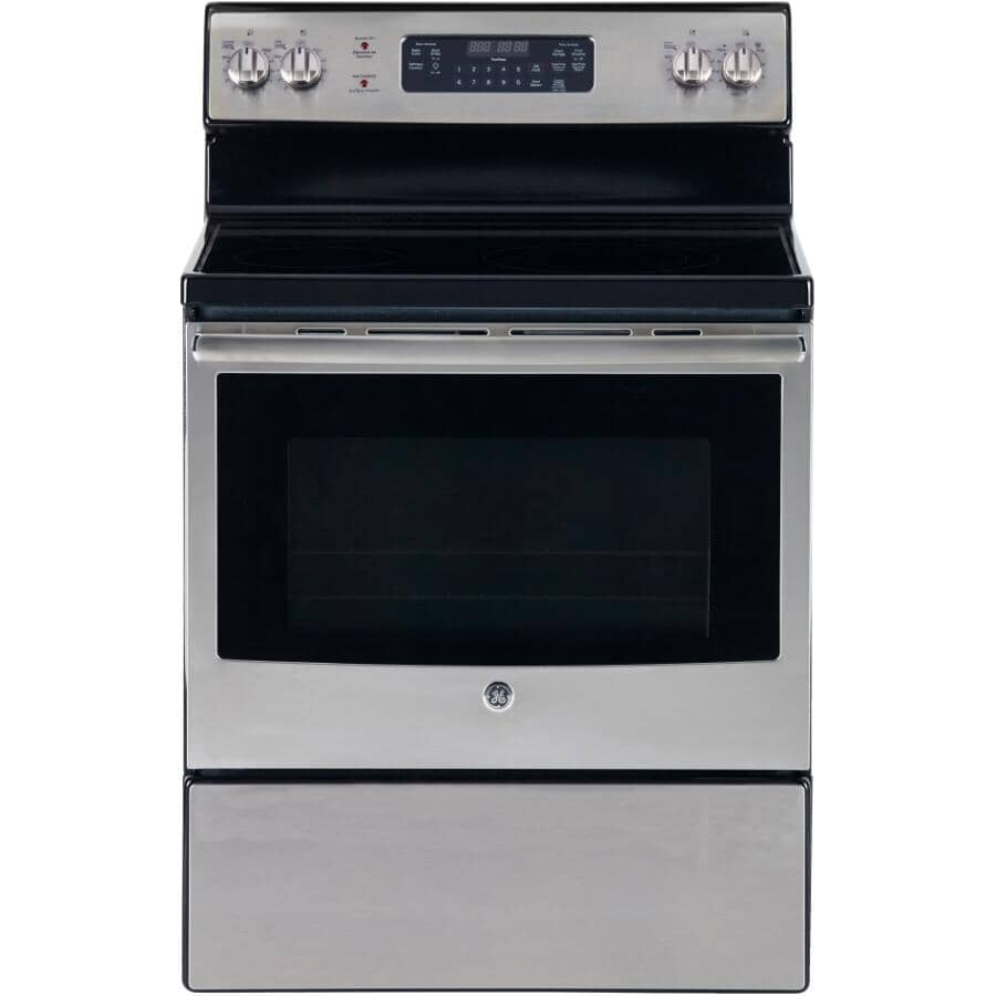 """GE:30"""" Smooth Top Electric Range (JCB730SKSS) - Self-Cleaning + Stainless Steel"""
