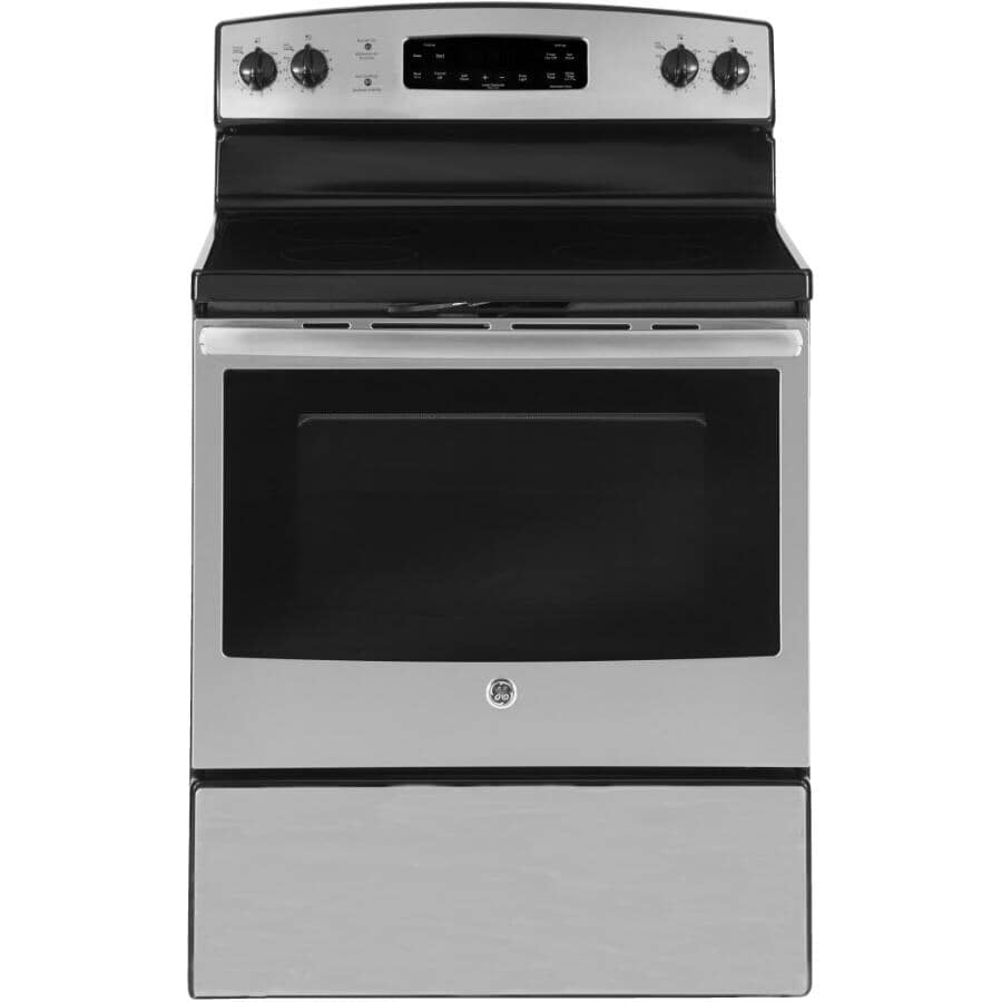 """GE:30"""" Stainless Steel Electric Range Oven - Glass-Ceramic Cooktop + Self Cleaning"""