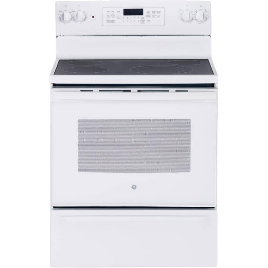 """GE:30"""" 5.0 cu. ft. Freestanding Smooth Top Electric Convection Range (JCB830DKWW) - Self-Cleaning, White"""