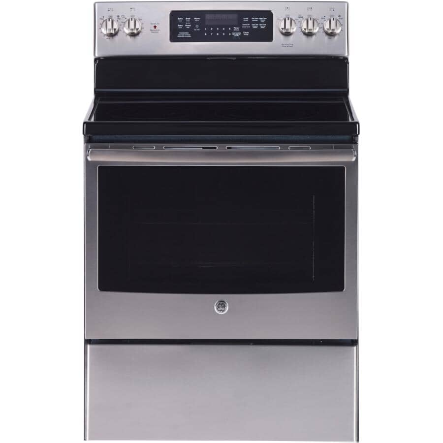 """GE:30"""" 5.0 cu. ft. Freestanding Smooth Top Electric Convection Range (JCB840SKSS) - Self-Cleaning, Stainless Steel"""