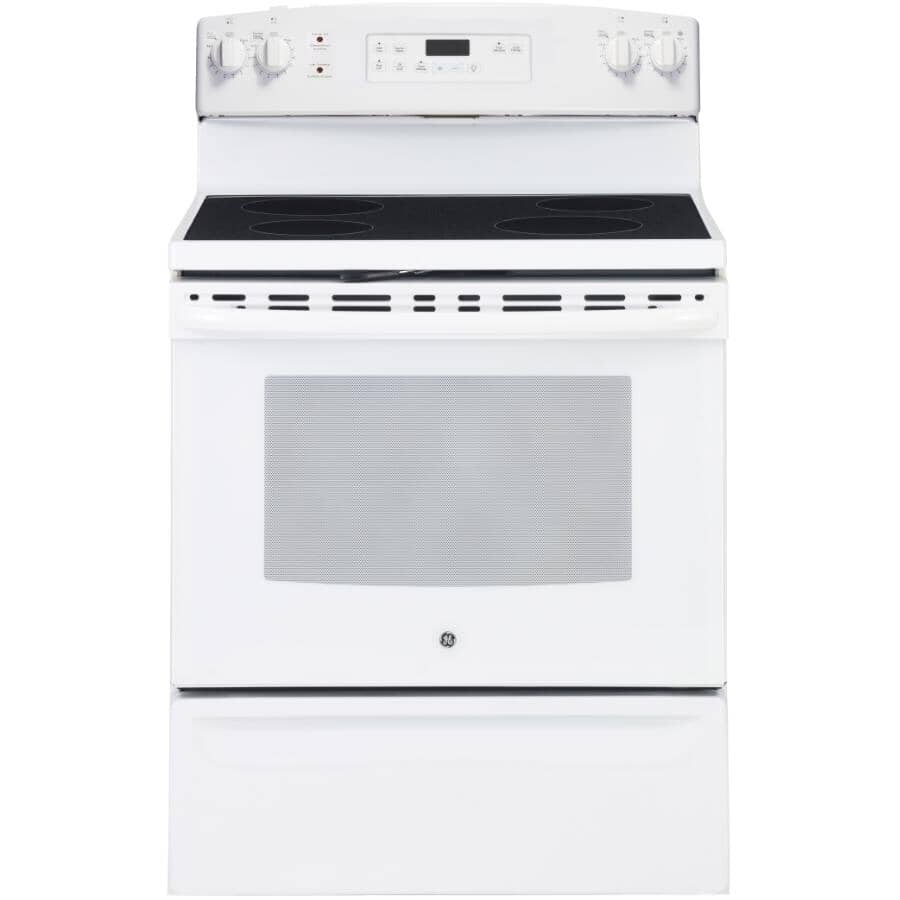 """GE:30"""" 5.0 cu. ft. Freestanding Smooth Top Electric Range (JCB630DKWW) - Self-Cleaning, White"""