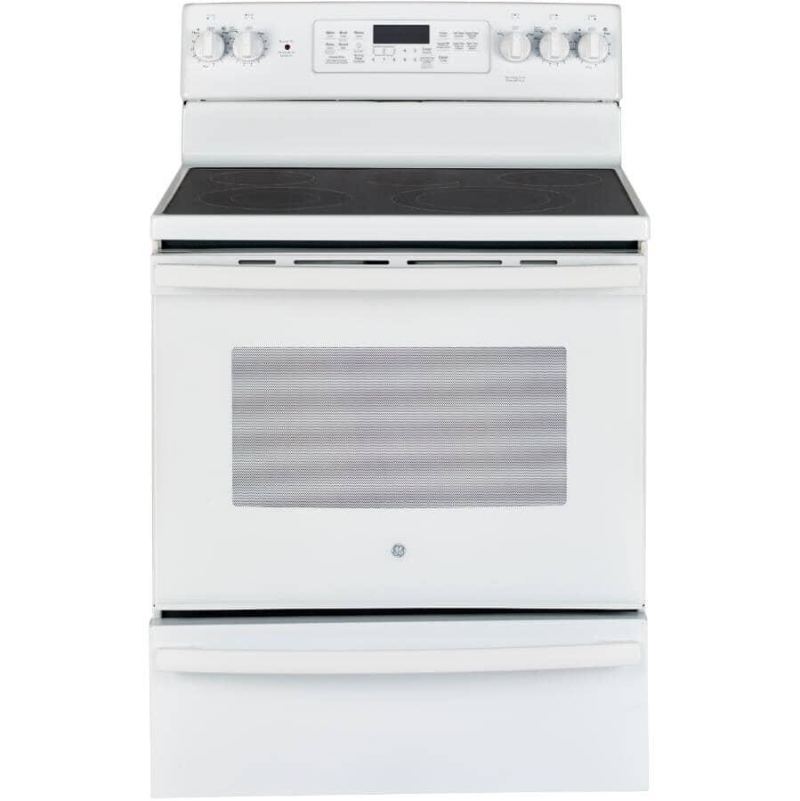 GE:Cuisinière électrique blanche à surface lisse avec four autonettoyant de 30 po (JCB860DKWW)