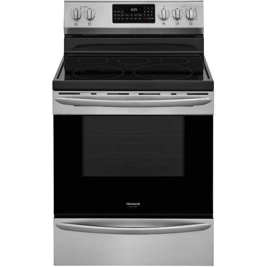 """FRIGIDAIRE GALLERY:30"""" 5.7 cu. ft. Freestanding Smooth Top Electric Convection Range (GCRE306CAF) - with Air Fry + Self-Cleaning, Stainless Steel"""