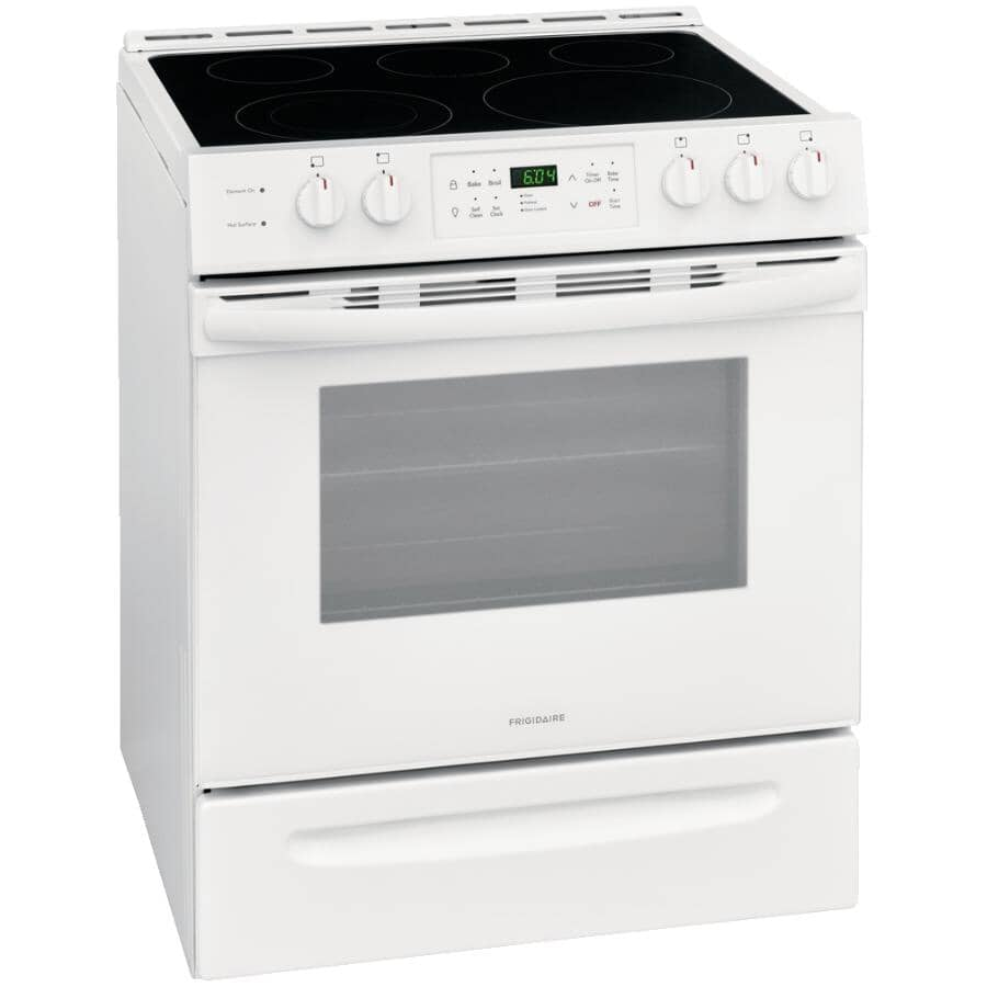 """FRIGIDAIRE:30"""" 5.0 cu. ft. Freestanding Smooth Top Electric Range (CFEH3054UW) - Self-Cleaning, White"""