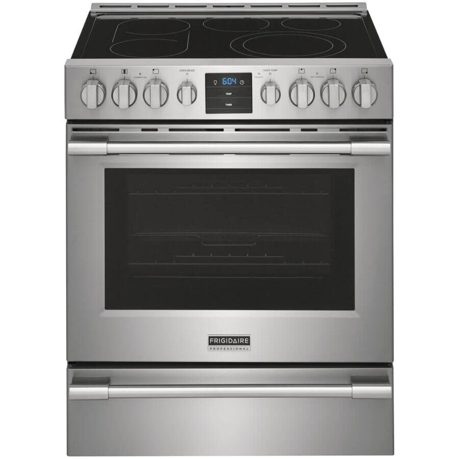 """FRIGIDAIRE PROFESSIONAL:30"""" 5.4 cu. ft. Freestanding Smooth Top Electric Range - with Air Fryer, Stainless Steel"""