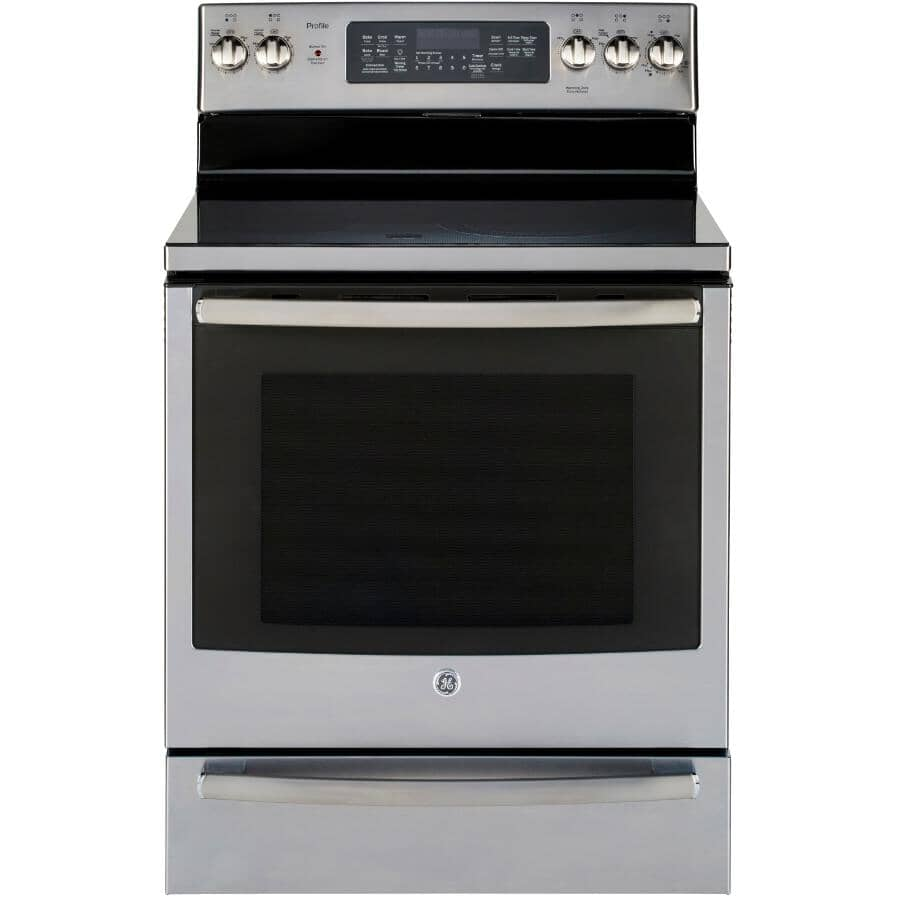 """GE:30"""" 6.2 cu. ft. Freestanding Smooth Top Electric Convection Range (PCB940YKFS) - Self-Cleaning, Stainless Steel"""