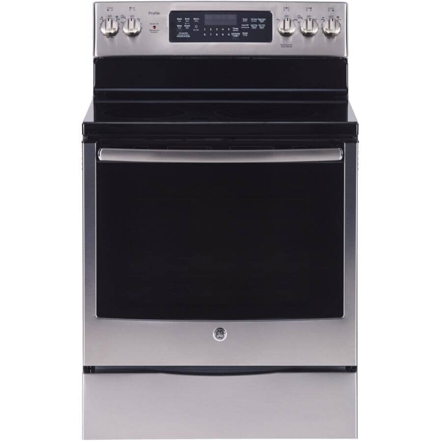 """GE PROFILE:30"""" Smooth Top Electric Range (PCB905YPFS0) - with Convection + Self Cleaning, Stainless Steel"""