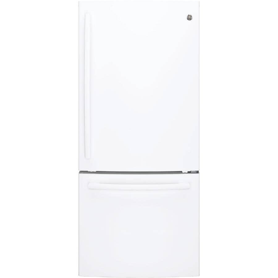 "GE:30"" 20.9 cu. ft. Bottom Freezer Refrigerator (GDE21DGKWW) - White"