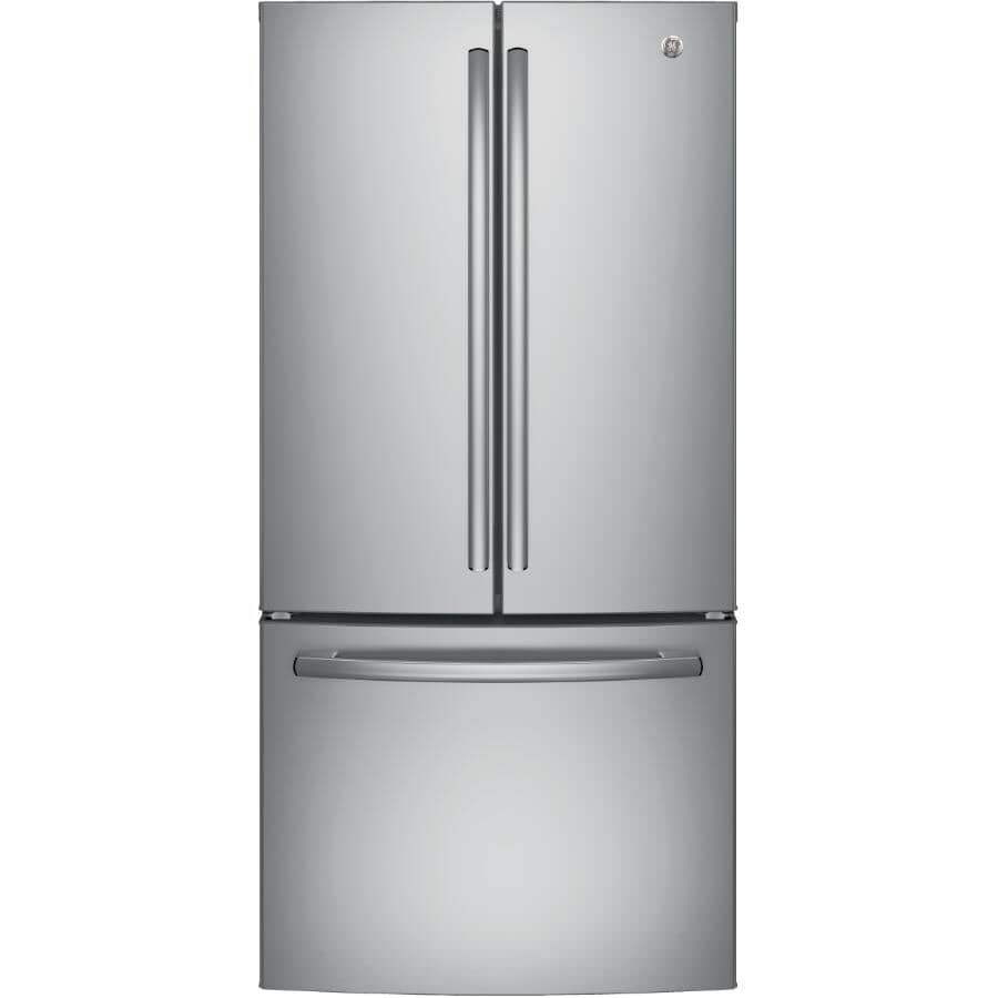 """GE:33"""" 24.8 cu. ft. Stainless Steel French Door Refrigerator (GNE25DSKSS) - with Bottom Mount Freezer"""