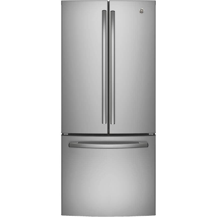GE:Réfrigérateur à 2 portes de 20,5 pieds cubes avec congélateur au bas, acier inoxydable