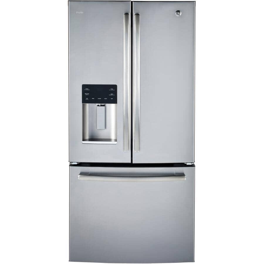 GE PROFILE:Réfrigérateur à 2 portes de 23,5 pieds cubes avec congélateur au bas, acier inoxydable (PFE24HSLKSS)