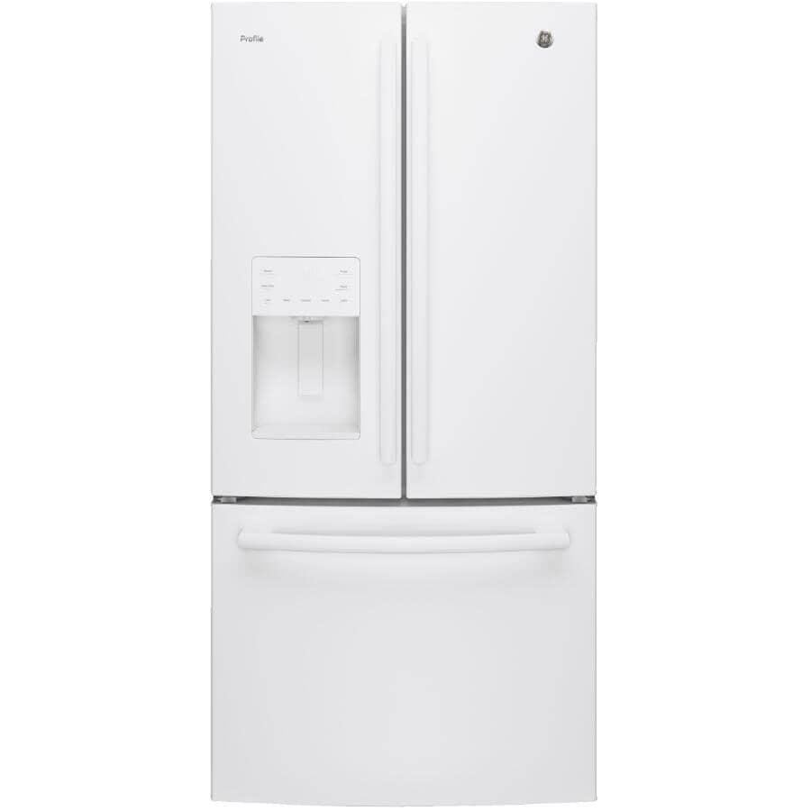 "GE PROFILE:33"" 23.8 cu. ft. French Door Bottom Freezer Refrigerator (PFE24HGLKWW) - White"