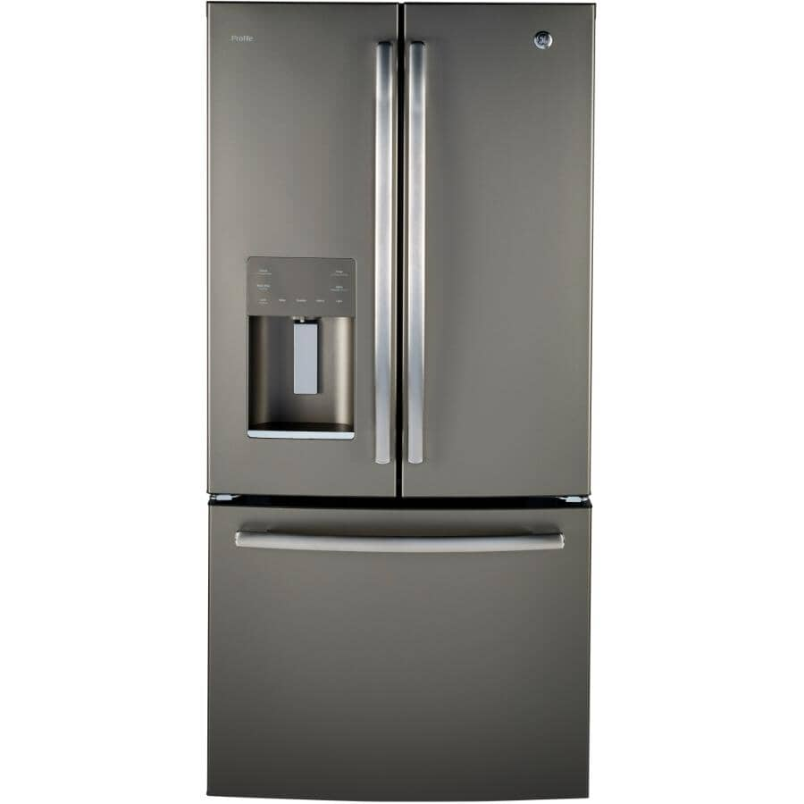 GE PROFILE:Réfrigérateur à 2 portes de 18 pieds cubes avec congélateur au bas, ardoise (PYE18HMLKES)