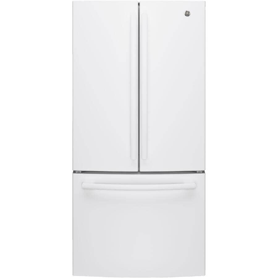 GE:18.6 cu. ft. White French Door Refridgerator, with Bottom Mount Freezer