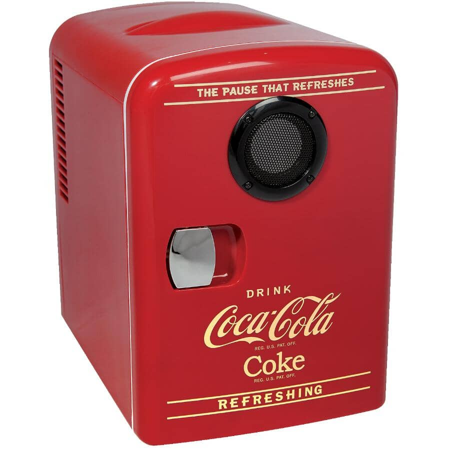 COCA-COLA:6 Can Cooler and Warmer Mini Fridge, with Bluetooth Built-in Speaker