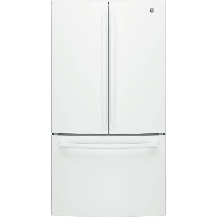 GE:26.7 cu. ft. White French Door Refrigerator, with Bottom Mount Freezer