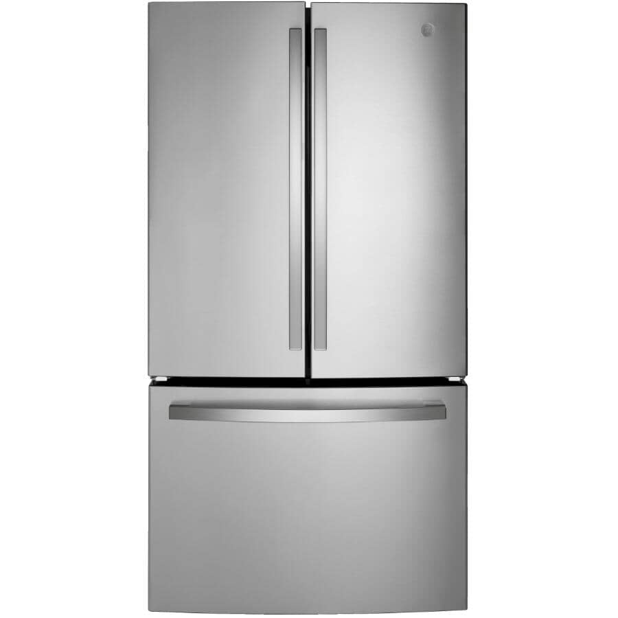 GE:27 cu. ft. French Door Refrigerator - with Bottom Mount Freezer, Stainless Steel