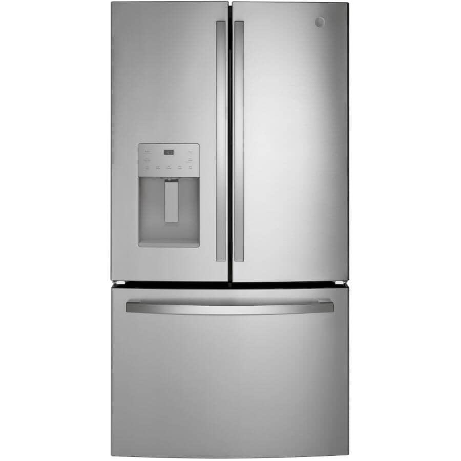 GE:25.6 cu. ft. French Door Refrigerator (GFE26JYMFS) - with Bottom Mount Freezer + Dispenser + Stainless Steel