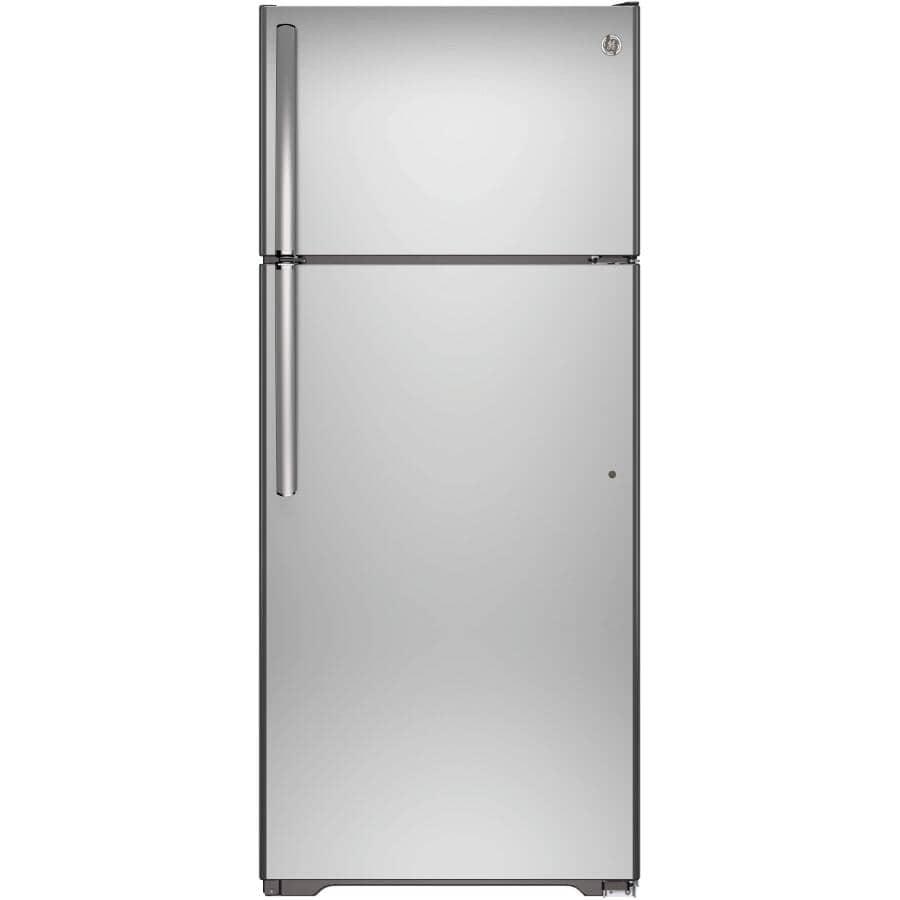 GE:18 cu. ft. Top-Freezer Refrigerator (GTS18FSLKSS) - with Reversible Door, Stainless Steel